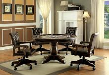 Furniture of america CM-GM347T 5 pc kalia collection brown finish wood contemporary style round poker game table set
