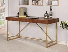 CM-DK6447 Halstein walnut wood gold finish metal frame modern style writing desk