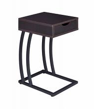 Espresso finish wood top and gunmetal finish metal frame chair side slide under sofa table