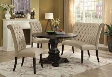 Furniture of america CM3840RT-SC-4PC 4 pc nerissa antique black finish wood round dining table set with ivory tufted chairs