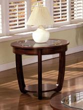 CM4336E Crystal falls dark cherry wood finish oval end table