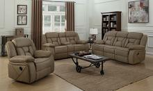 2 pc Hampsted collection tan leatherette upholstered sofa and love seat with recliner ends