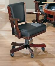 Gameroom / Poker chair chestnut finish wood and black leatherette upholstered swivel chair with casters