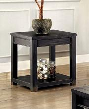 Furniture of america CM4327E Meadow antique black finish wood plank style end table