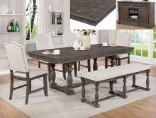 2270T 6 pc Regent rustic grey finish wood trestle base dining table set with bench