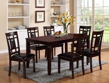 2325SET 7 pc Paige dark brown wood finish dining table set with grid design backs