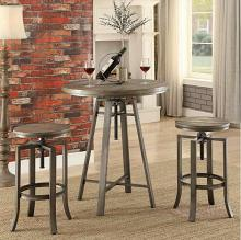 3 pc set industrial styles collection brushed slate grey finish metal frame and wire brushed nutmeg top bar table and stools