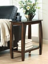 900994 Contemporary styling walnut finish wood frame chair side end table with lower shelf