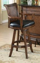Vista collection traditional style warm brown finish wood swivel bar stool