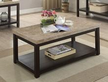 CM4861C Calgary dark walnut finish wood marble top coffee table