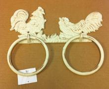 Cast iron antique white two rooster ring hooks