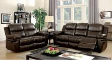2 pc listowel collection transitional style brown bonded leather match upholstery sofa and love seat with recliners