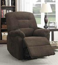 Mabel collection chocolate textured chenille fabric upholstered power lift recliner chair