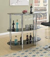 3 tier moderna collection black glass and chrome metal bar table with glass racks