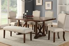 Poundex F2398-1546-1548 6 pc bridget iii collection dark cherry finish wood dining table set with padded seats nail head trim accents
