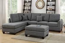 Poundex F6511 2 pc Darleen collection ash black cotton blended fabric upholstered sectional sofa with nail head trim accents