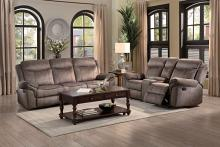 2 pc Aram collection brown textured fabric upholstered double reclining sofa and love seat set