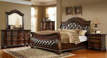 5 pc Sinatra dark brown finish wood tufted queen sleigh bedroom set
