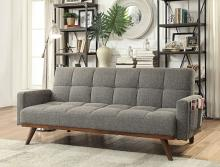 CM2605 Nettie grey linen like fabric folding futon sofa bed with wood accents