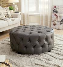 Latoya collection gray bonded leather tufted round ottoman foot stool