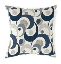 "PL6002BLS Set of 2 swoosh collection blue colored fabric 18"" x 18"" throw pillows"