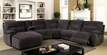 6 pc karlee ii gray chenille fabric upholstered sectional sofa with recliner and chaise