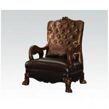 Acme 52097 Versailles cherry oak finish wood and golden brown velvet accent chair