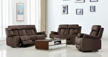 Global United 9760BR-2PC 2 pc Parsons II brown bella fabric sofa and love seat with recliner ends