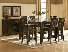 Home Elegance 1372-36 7 pc crown point dark cherry finish wood counter height dining table set