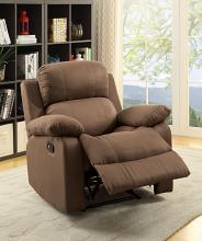 Acme 59478 Parklon chocolate microfiber fabric recliner chair with overstuffed seats and arms