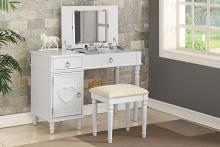 Poundex F4179 2 pc Angelica collection white finish wood make up bedroom vanity set with storage and stool and flip up mirror