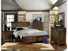 Homelegance 1957-5PC 5 pc Jerrick burnished natural finish wood paneled headboard bedroom set