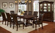 7 pc alpena collection brown cherry finish wood dining table set
