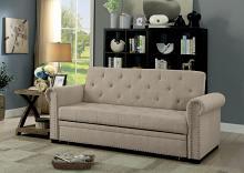CM2603 Iona beige linen like fabric folding futon sofa bed
