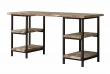 801551 Skelton salvaged cabin finish wood with black metal frame two pedestal writing desk