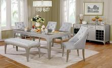 CM3020T 6 pc diocles silver finish wood dining table set with antique mirror inserts