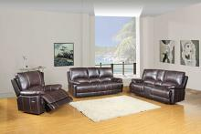Global United 9345BR-2PC-LVCN 2 pc Ospray brown leather aire sofa and love seat with console with recliner ends