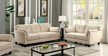Furniture of america CM6716BG 2 pc ysabel collection contemporary style beige flannelette sofa and love seat set with tufted back and padded arms