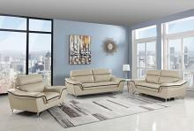 168BEI-2PC 2 pc Red barrel studio trower modern style beige genuine leather sofa and love seat set