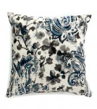 "Set of 2 ria collection gray & blue colored fabric 18"" x 18"" throw pillows"