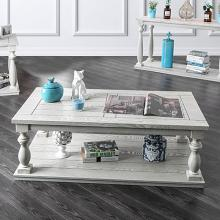 CM4520C Arlington antique white finish wood rustic style coffee table