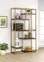CM-AC6264CPN Elvira multi tier light dark finish wood shelves with champagne frame bookcase shelf