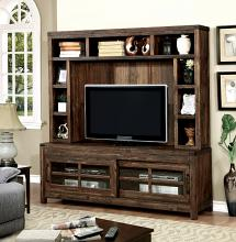 "CM5233-TV-H 2 pc Hopkins dark walnut finish wood 72"" tv console media stand with hutch"