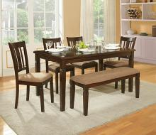 Homelegance 2538-60 6 pc devlin espresso finish wood dining table set with seats