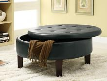 Rich dark brown leather like vinyl button tufted top storage ottoman footstool