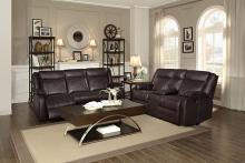 Homelegance 8201BRW-2pc 2 pc Jude dark brown leather gel match double reclining sofa and love seat set