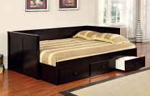 Wolford collection black finish wood frame full size day bed with drawers