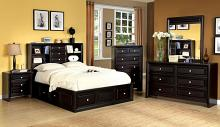CM7059Q 5 pc yorkville platform in espresso finish wood with a book case headboard with 3 drawers around bed in queen bedroom set.