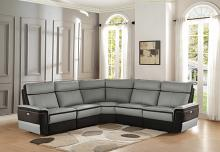 Homelegance 8318-5pc 5 pc laertes two tone grey top grain leather and darker tone fabric power reclining sectional sofa