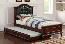 Poundex F9379 2 pc Harriett bee loveland espresso finish wood twin trundle bed black tufted headboard